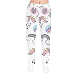 Cute Unicorns With Magical Elements Vector Women Velvet Drawstring Pants by Sobalvarro