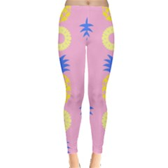Pop Art Pineapple Seamless Pattern Vector Leggings  by Sobalvarro