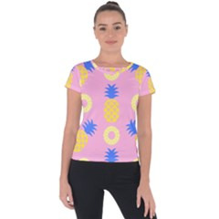 Pop Art Pineapple Seamless Pattern Vector Short Sleeve Sports Top  by Sobalvarro