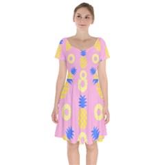 Pop Art Pineapple Seamless Pattern Vector Short Sleeve Bardot Dress by Sobalvarro