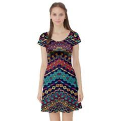Ethnic  Short Sleeve Skater Dress by Sobalvarro