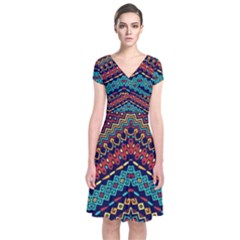 Ethnic  Short Sleeve Front Wrap Dress by Sobalvarro