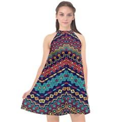 Ethnic  Halter Neckline Chiffon Dress  by Sobalvarro