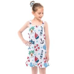 Seamless Pattern Nautical Icons Cartoon Style Kids  Overall Dress by Vaneshart
