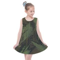 Camouflage Brush Strokes Background Kids  Summer Dress by Vaneshart