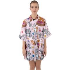 Cat Seamless Pattern Half Sleeve Satin Kimono