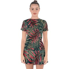 Trending Abstract Seamless Pattern With Colorful Tropical Leaves Plants Green Drop Hem Mini Chiffon Dress by Vaneshart