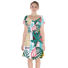 Abstract Seamless Pattern With Tropical Leaves Short Sleeve Bardot Dress by Vaneshart