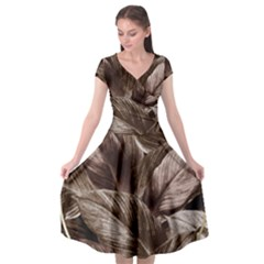 Foliage Circle Card Cap Sleeve Wrap Front Dress by Vaneshart