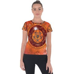 Awesome Skull On A Pentagram With Crows Short Sleeve Sports Top  by FantasyWorld7
