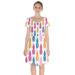 Tropic Fruit Pineapple Seamless Pattern Design Vector Illustration Short Sleeve Bardot Dress by Vaneshart