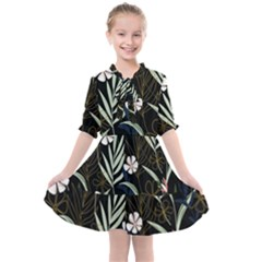 Trending Abstract Seamless Pattern With Colorful Tropical Leaves Plants Black Background Kids  All Frills Chiffon Dress by Vaneshart