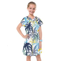 Colorful Summer Palm Trees White Forest Background Kids  Drop Waist Dress by Vaneshart