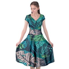 Seamless Abstract Pattern With Tropical Plants Cap Sleeve Wrap Front Dress by Vaneshart