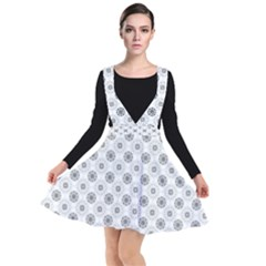 Pattern Black And White Flower Plunge Pinafore Dress by Alisyart