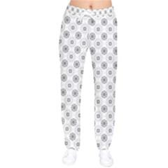 Pattern Black And White Flower Women Velvet Drawstring Pants by Alisyart