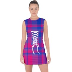 Bisexual Plaid Lace Up Front Bodycon Dress by NanaLeonti