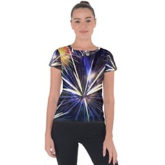 Fireworks Rocket Night Lights Short Sleeve Sports Top  by HermanTelo