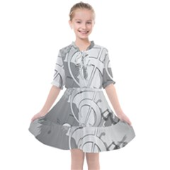 Dance Music Treble Clef Sound Girl Kids  All Frills Chiffon Dress by Jojostore