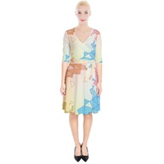 Background Pastel Geometric Lines Wrap Up Cocktail Dress