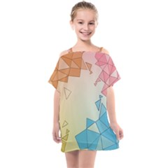 Background Pastel Geometric Lines Kids  One Piece Chiffon Dress by Alisyart