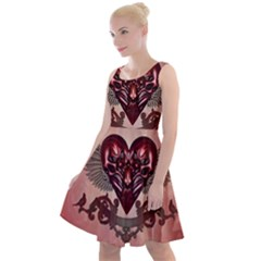 Awesome Heart With Skulls And Wings Knee Length Skater Dress by FantasyWorld7