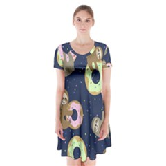 Cute Sloth With Sweet Doughnuts Short Sleeve V Neck Flare Dress by Sobalvarro