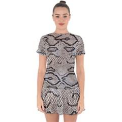 Snake Leather Drop Hem Mini Chiffon Dress by skindeep