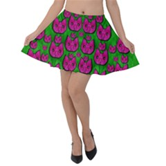 Sweet Flower Cats  In Nature Style Velvet Skater Skirt by pepitasart