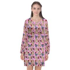 Angel Cherub Butterflies Pink Long Sleeve Chiffon Shift Dress  by snowwhitegirl