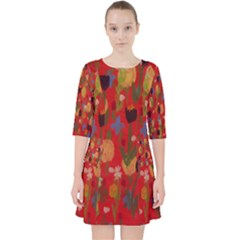 Flowers On Red Background Quarter Sleeve Pocket Dress by BePrettily