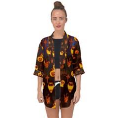 Funny Halloween Design Open Front Chiffon Kimono by FantasyWorld7
