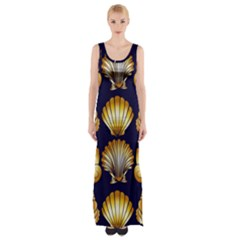 Snails See Shells Golden Thigh Split Maxi Dress