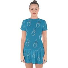 Bubble Group Pattern Abstract Drop Hem Mini Chiffon Dress by Vaneshart