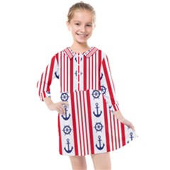 Nautical Papers Nautical Background Kids  Quarter Sleeve Shirt Dress by Vaneshart