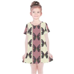 Butterflies Pink Old Old Texture Kids  Simple Cotton Dress by Vaneshart