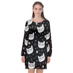 Gothic Cat Long Sleeve Chiffon Shift Dress  by Valentinaart