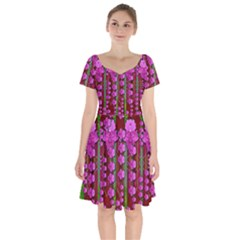 Jungle Flowers In The Orchid Jungle Ornate Short Sleeve Bardot Dress