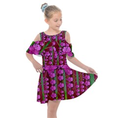 Jungle Flowers In The Orchid Jungle Ornate Kids  Shoulder Cutout Chiffon Dress by pepitasart
