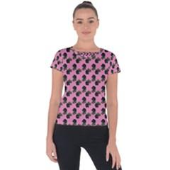 Black Rose Light Pink Short Sleeve Sports Top  by snowwhitegirl