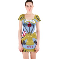 Emblem Of The United States Department Of The Army Short Sleeve Bodycon Dress