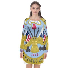 Emblem Of The United States Department Of The Army Long Sleeve Chiffon Shift Dress