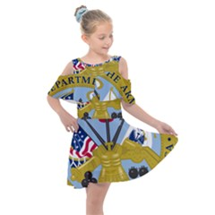 Emblem Of The United States Department Of The Army Kids  Shoulder Cutout Chiffon Dress by abbeyz71