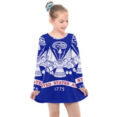 Field Flag Of United States Department Of Army Kids  Long Sleeve Dress by abbeyz71