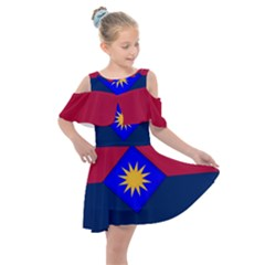 Flag Of United States Army 40th Infantry Division Kids  Shoulder Cutout Chiffon Dress by abbeyz71
