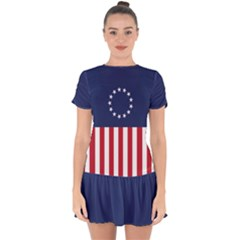 Betsy Ross Flag Usa America United States 1777 Thirteen Colonies Vertical Drop Hem Mini Chiffon Dress
