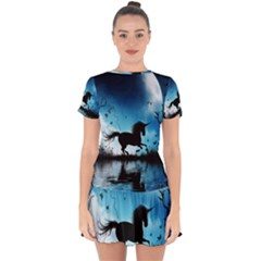 Wonderful Unicorn Silhouette In The Night Drop Hem Mini Chiffon Dress by FantasyWorld7