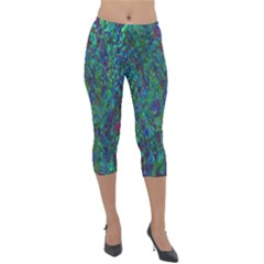 Essence Of A Peacock Lightweight Velour Capri Leggings  by bloomingvinedesign