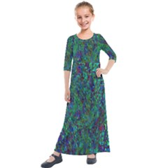 Essence Of A Peacock Kids  Quarter Sleeve Maxi Dress by bloomingvinedesign