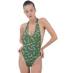 Pepe The Frog Face Pattern Green Kekistan Meme Backless Halter One Piece Swimsuit by snek